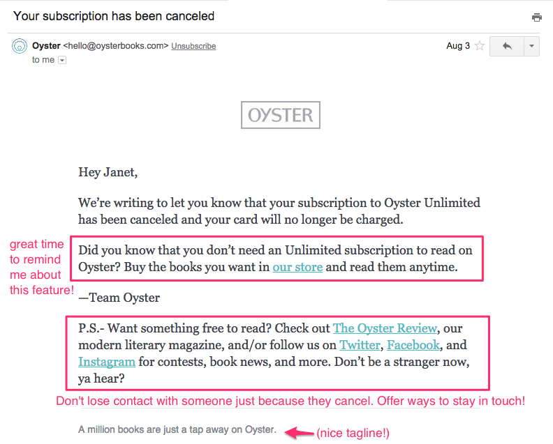 ebook subscription service oyster closing